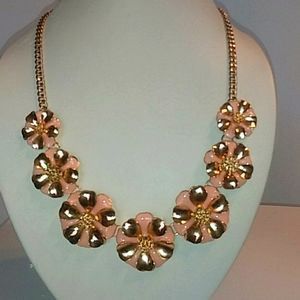 Pink and Gold Flower Statement Necklace. Nwt